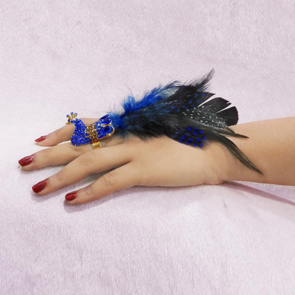 Urthn Blue Austrian Stone Peacock Feather Adjustable Ring