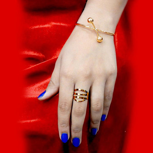 Urthn Gold Plated Ring With Bracelet
