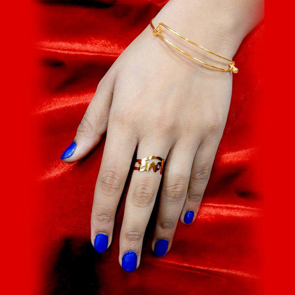 Urthn Gold Plated Love Design Ring With Bracelet