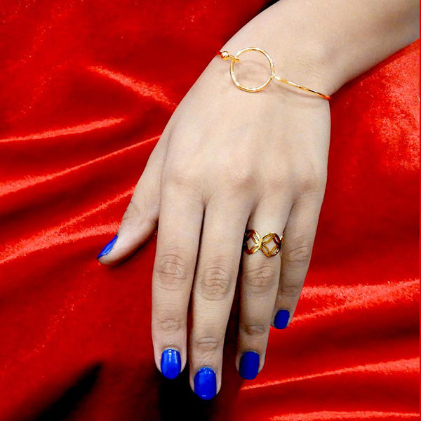 Urthn Zinc Alloy Gold Plated Ring With Bracelet