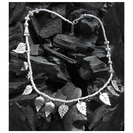 Urthn Rhodium Plated Leaf Design Boho Necklace
