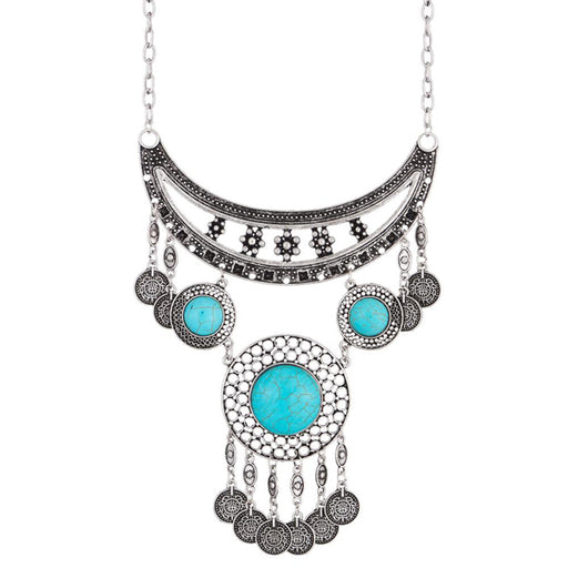 Urthn Oxidised Turquoise Stone Boho Necklace