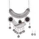 Urthn Black Oxidised Zinc Alloy Boho Necklace Set