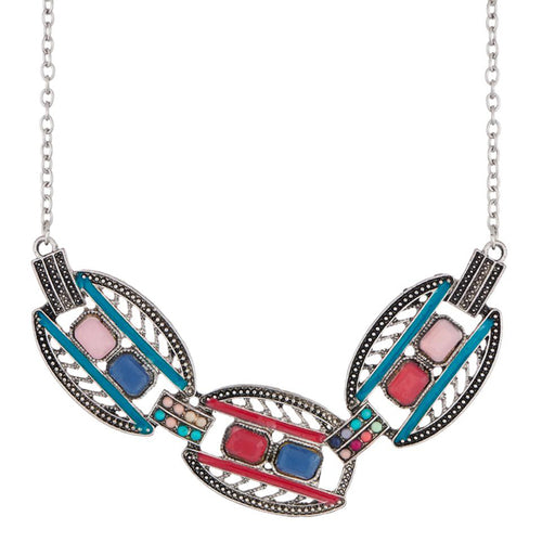 Urthn Meenakari Rhodium Plated Stone Statement Necklace