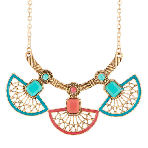 Urthn Meenakari Gold Plated Stone Statement Necklace