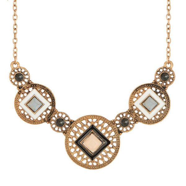 Urthn Stone Antique Gold Plated Meenakari Statement Necklace