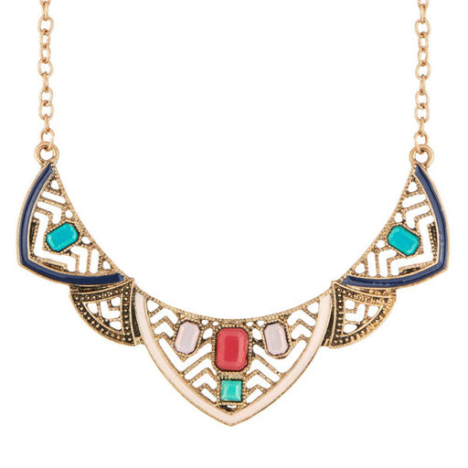 Urthn Meenakari Antique Gold Plated Stone Statement Necklace