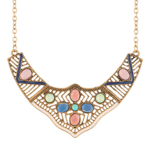 Urthn Multicolour Stone Meenakari Statement Necklace