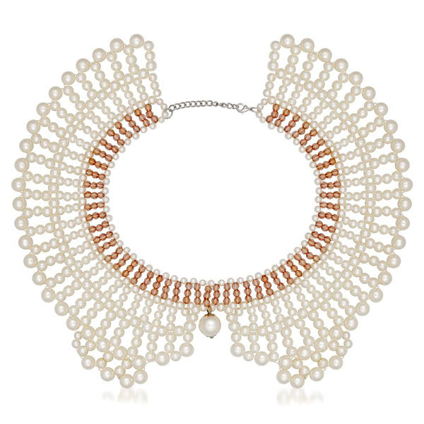 Beadside Crystal Beads Pearl White Necklace