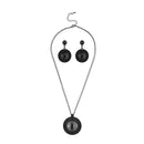 Urthn Black Resin Stone Oxidised Plated Statement Necklace Set