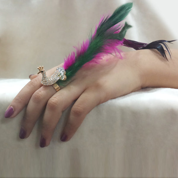 Urthn White Austrian Stone Peacock Adjustable Feather Ring