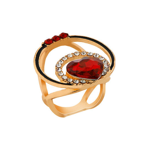 Urthn Gold Plated Maroon Stone Ring