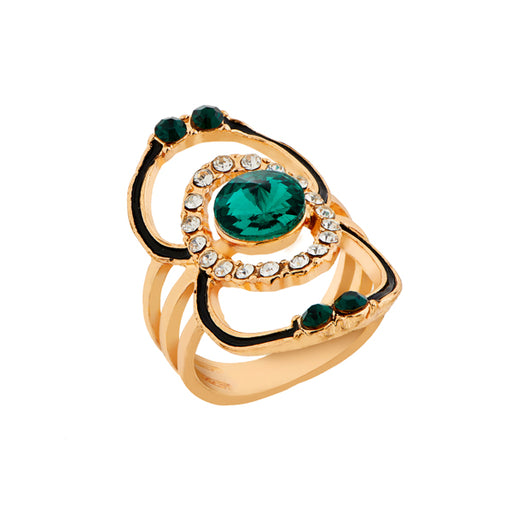 Urthn Green Stone Gold Plated Ring