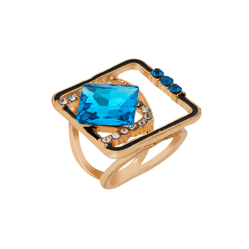 Urthn Gold Plated Blue Stone Meenakari Ring