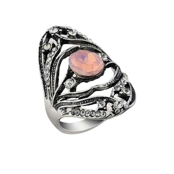 Urthn Pink Stone Rhodium Plated Ring