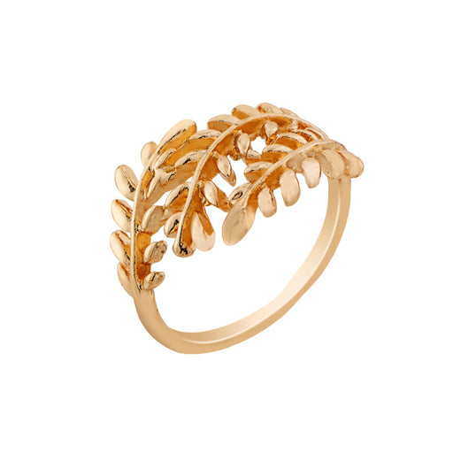 Urthn Leaf Design Gold Plated Ring