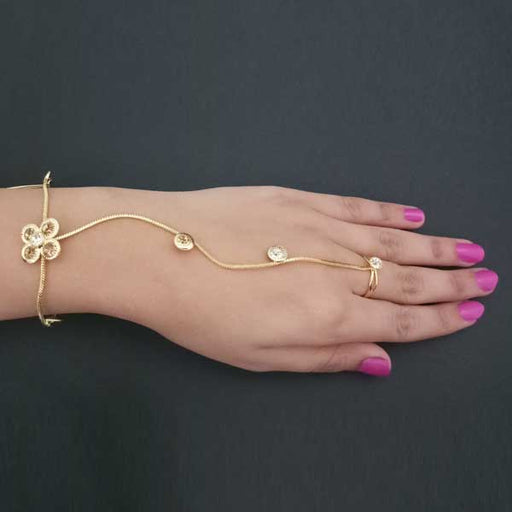 Urthn Brown Austrian Stone Gold Plated Hand Harness