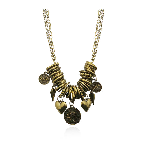 Urthn Antique Gold Plated Statement Necklace