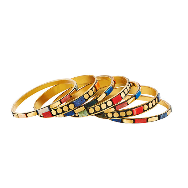 Urthn Gold Plated Multi Meenakari Bangle Set
