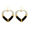 Urthn Black Enamel Gold Plated Dangler Earrings