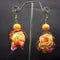 Urthn  Peach Floral Design Dangler Earrings