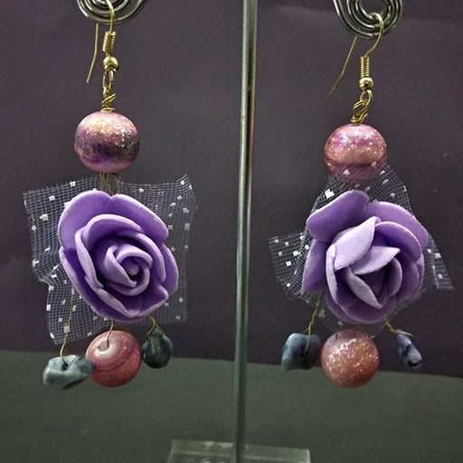 Urthn Purple Floral Design Dangler Earrings