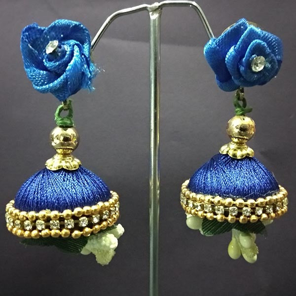 Urthn Floral Thread Jhumki Earrings