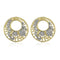 Estele 24kt Gold And Silver Tone Plated AD Stone Round Stud Earrings