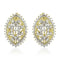 Estele 24Kt Gold And Silver Tone Plated Ovel Shaped White AD Stone Stud Earrings