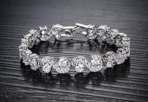 I Jewels  Silver Plated White Crystal CZ Chain Bracelet for Women and Girls (ADB181W)