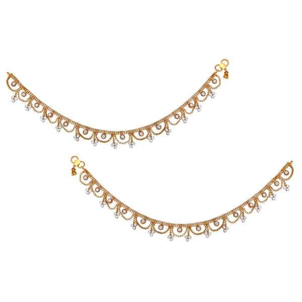 Asmitta Ethnic wedding Wear designer gold toned Anklets for women
