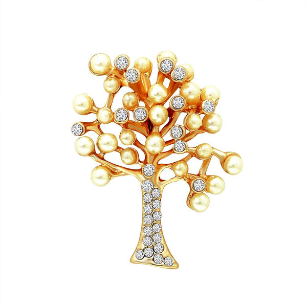 Mahi Unisex Decorative Tree Brooch Pin With Crystals And Artificial Pearl
