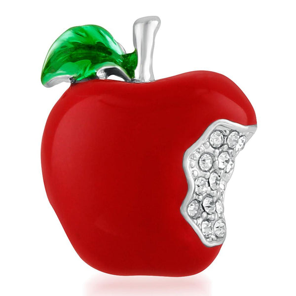 Mahi Lovely Apple Unisex Lapel Pin With Crystal Stones