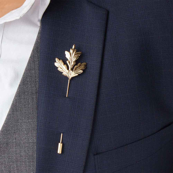 Mahi Rose Gold Plated Fashionable Mens Maple Leaf Tree Lapel Stick Brooch Pin