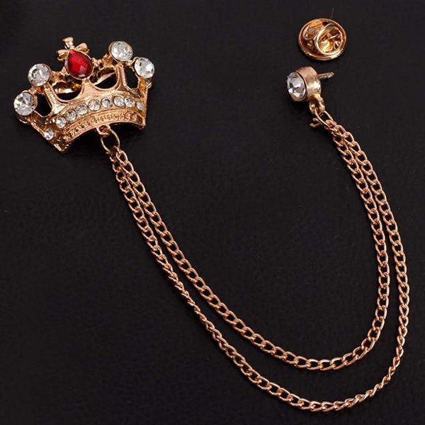 Mahi Rose Gold Plated Men's Royal Crown Crystal Brooch with Chain