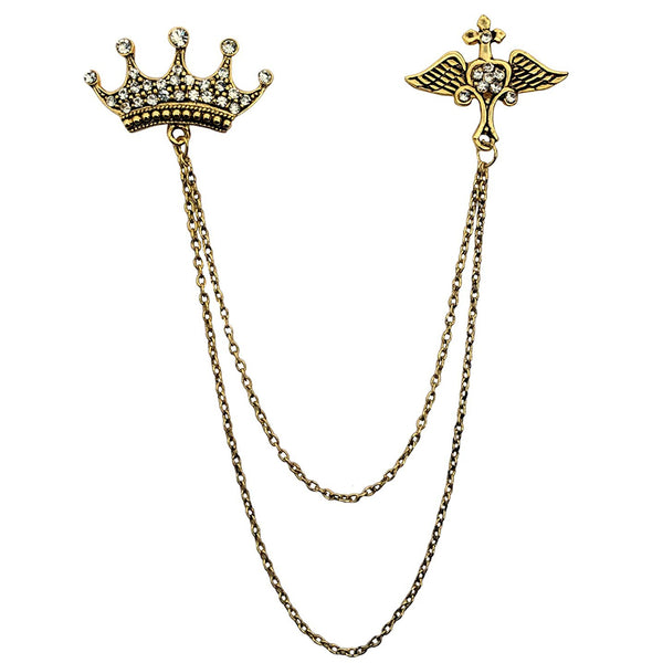 Mahi Gold Plated Fashionable Double Chain Crown Wing Brooch with Crystal for Men