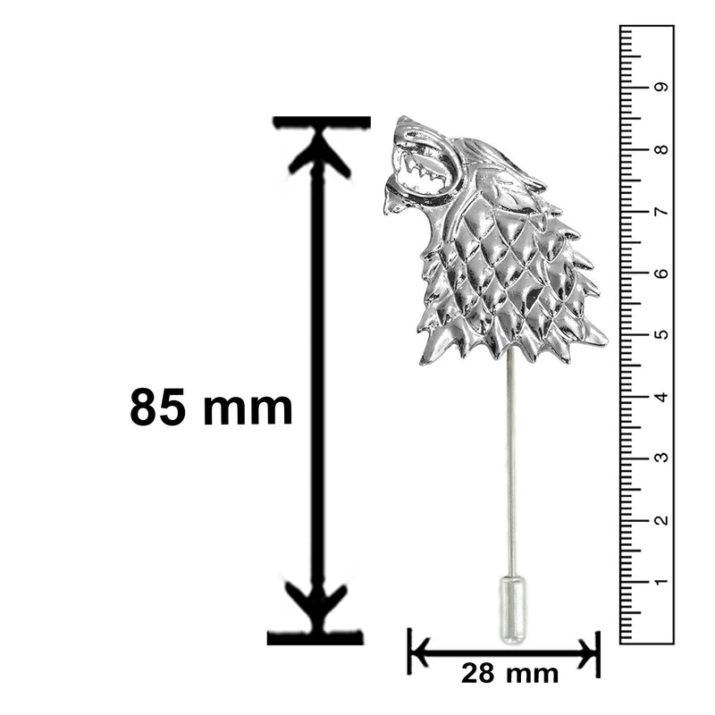 Mahi Rhodium Plated Game of Thrones Inspired Stark Wolf Lapel Pin Brooch for Men and Women