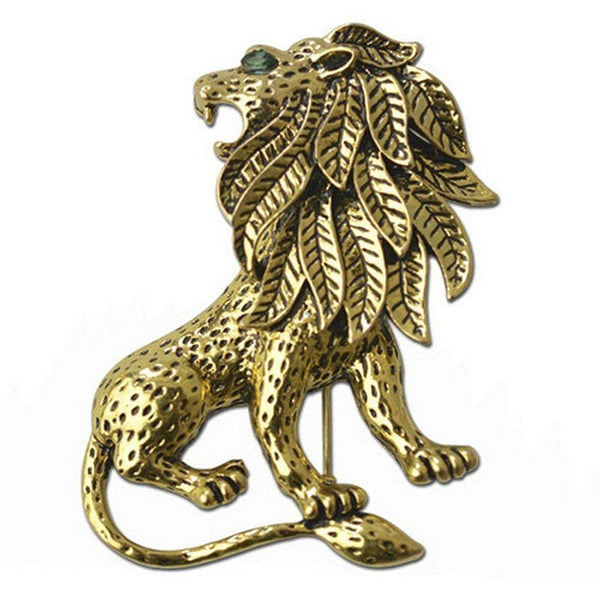 Mahi Gold Antique Vintage Unisex Lion Brooch Pin for Suit Clothing