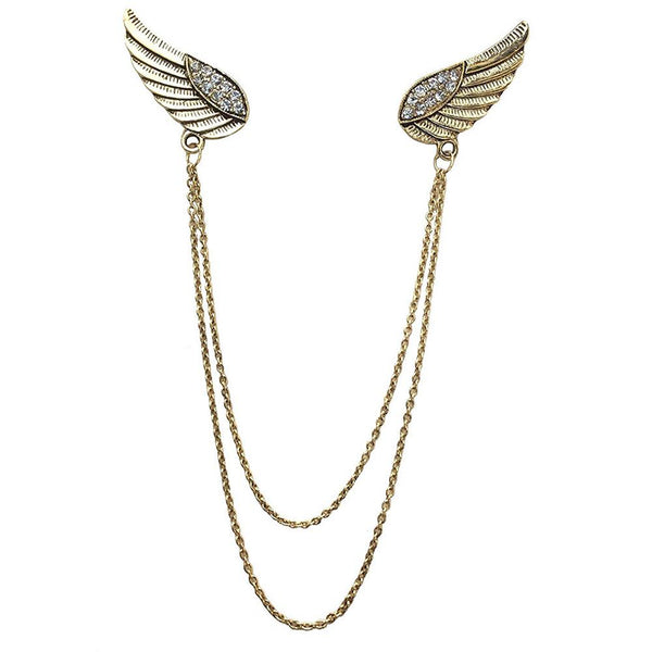 Mahi Unisex Golden Double Wing Chain Brooch