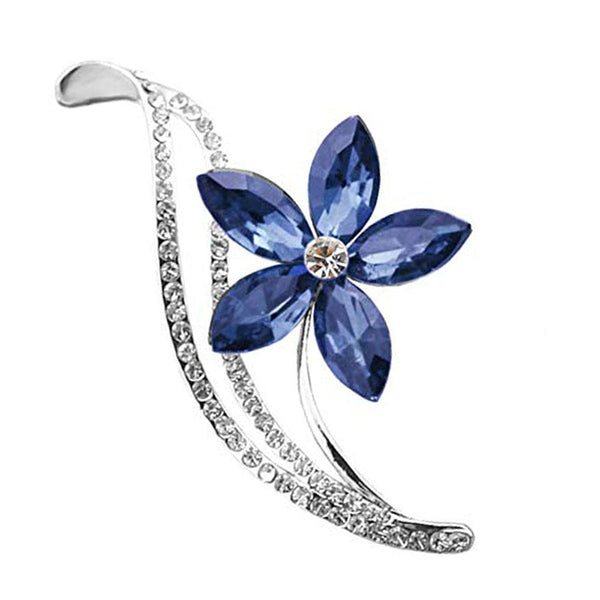 Mahi Rhodium Plated Floral Designer Montana Blue Crystal Brooch for girls and women