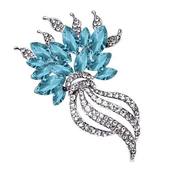 Mahi Rhodium Plated Exquisite Designer Aqua Blue Crystal Brooch for girls and women