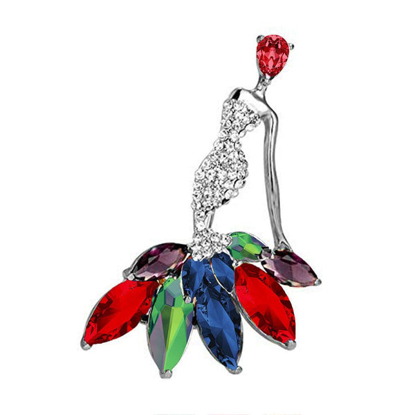 Mahi Rhodium Plated Dancing Doll Multicolour Crystal Brooch for girls and women