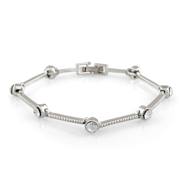 Mahi Rhodium Plated Elegant Valentine special Crystal Bracelet for girls and women