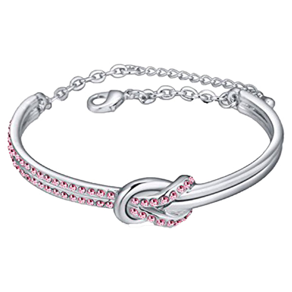 Mahi Rhodium Plated Cute Knot Pink Crystal Bracelet for Women & Girls
