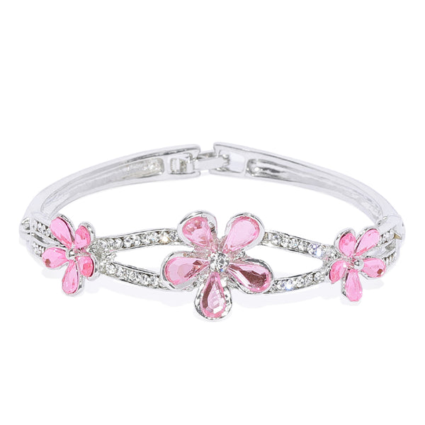 Mahi Rhodium Plated Exquisite Floral Love Crystal Bracelet for girls and women