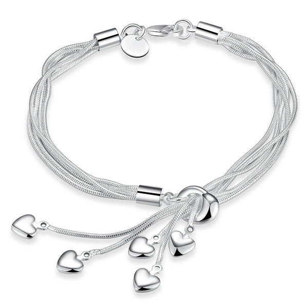 Mahi Heart Charm Rhodium Plated Bracelet for Women & Girls