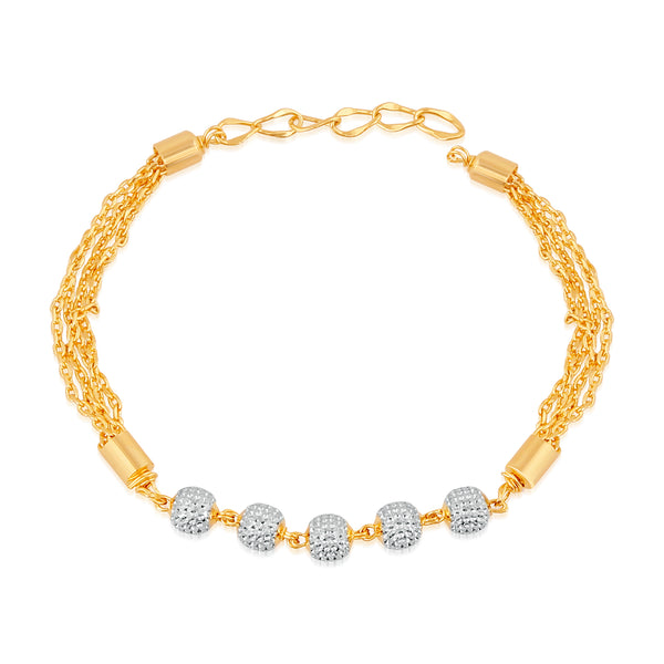 Mahi Gold Plated Sparkling white crystals adjustable bracelet for girls and women