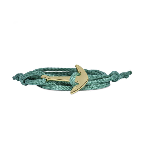 Mahi Anchor In Loop Gold Plated Adjustable Green Rope Style Unisex Bracelet