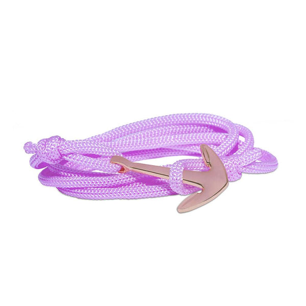 Mahi Anchor In Loop Rose Gold Plated Adjustable Light Pink Rope Style Unisex Bracelet