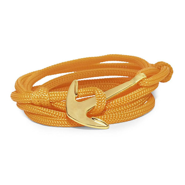 Mahi Anchor In Loop Gold Plated Adjustable Orange Rope Style Unisex Bracelet
